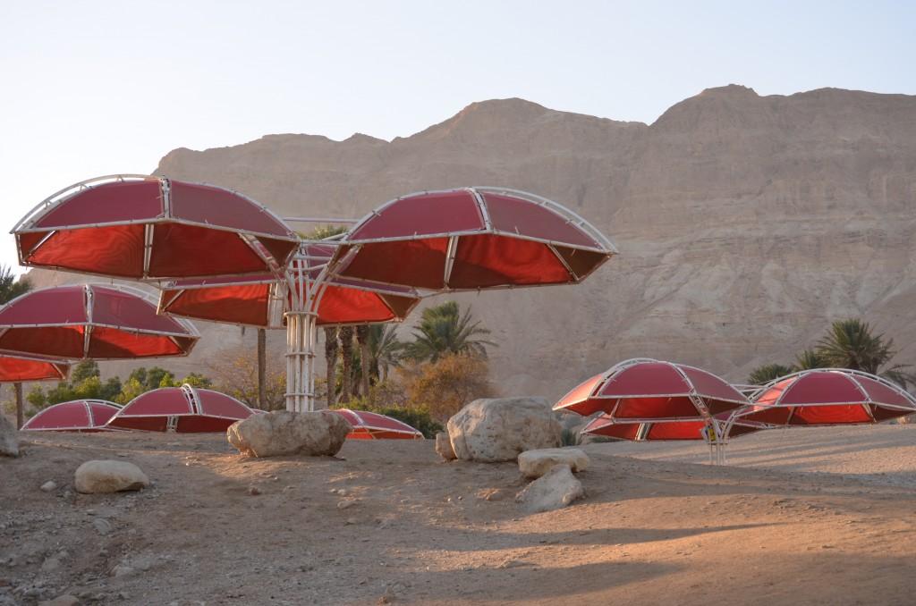 Sonnenschirme gegen die Hitze am Toten Meer, dem tiefsten Punkt der Erde. Januar 2014
